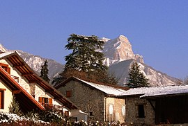 Biviers houses with Dent de Crolles in the background, 2009