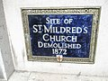 Blue plaque for St Mildred, Poultry - geograph.org.uk - 891461.jpg
