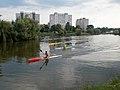 Boating Lake, kayak team training and Plattenbau, 2018 Oroszlány.jpg