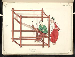 Longyi - Burmese watercolour from the 19th century. A woman weaves a paso on a loom while a man, himself wearing a paso, looks on.