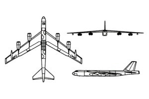 Orthographically projected diagram of the Boeing B-52 Stratofortress.