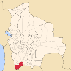 Location of the Sud Lípez Province within Bolivia
