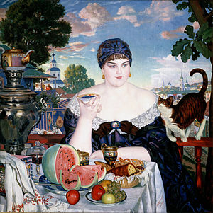Boris Kustodiev - Merchant's Wife at Tea - Google Art Project.jpg