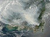 Satellite image of the 2006 Southeast Asian haze over Borneo.