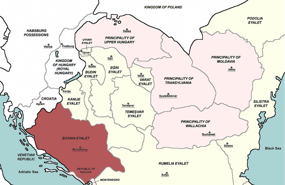Bosnia Eyalet, Central europe 1683