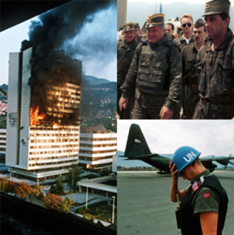 Bosnian War - The Executive Council Building burns after being hit by artillery fire in Sarajevo May 1992; Ratko Mladić with Army of Republika Srpska officers; a Norwegian UN soldier in Sarajevo.
