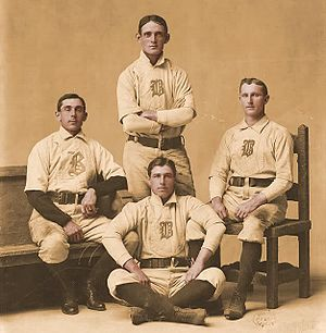 Bobby Lowe - Boston's infield rated by some as the best in baseball history. Top: Fred Tenney (1B), right: Herman Long (SS), bottom: Jimmy Collins (3B), and left: Bobby Lowe (2B).