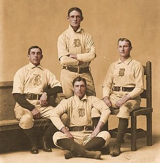 Jimmy Collins -  Jimmy Collins (center, below) with infielders Bobby Lowe, Fred Tenney and Herman Long.