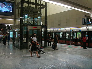 Bras Basah MRT Station - The station's platform for trains bound for Dhoby Ghaut.