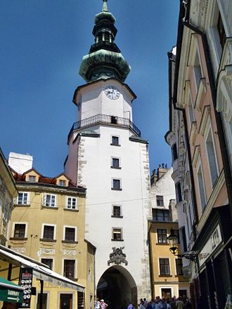 Bratislava fortifications - Michael's Gate is the only remaining from the original four gates of the medieval fortification system