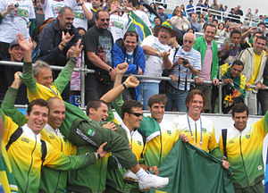 Rowing at the 2007 Pan American Games - Brazilian men's eights team winning silver