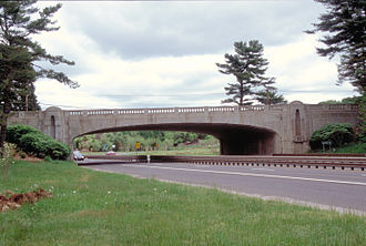 History of Connecticut - Some bridges on the Merritt Parkway were constructed by workers paid by the US Works Progress Administration