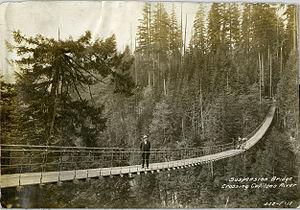 Capilano River - Suspension bridge crossing Capilano River