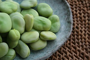 Broad beans, shelled and lightly steamed for 3...