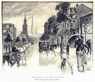 Broad Street, Birmingham - A print from an 1894 book showing the former Presbyterian church and now demolished Church of the Messiah (on Broad Street Tunnel)