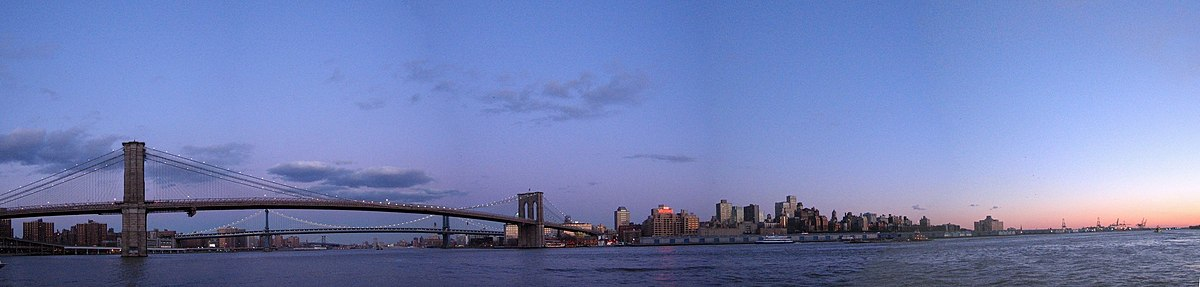 "Brooklyn agus an ""Brooklyn Bridge"", radharc as Manhattan"
