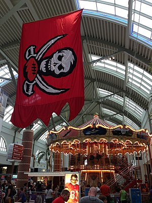 Westfield Brandon - The Buccaneers Flag is seen along with the Carousel in Westfield Brandon Mall