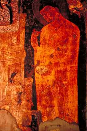 Yasodharā - Buddha with Yashodhara and Rahula (left bottom), Ajanta