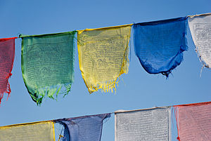 Buddhist prayer flags at the lookout tower nea...