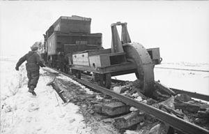 Railroad plough - German railroad plough in action, Belarus (1944)