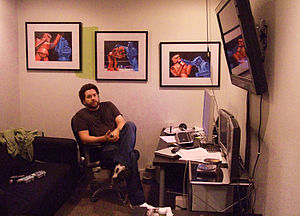 Burnie Burns - Burns in the Rooster Teeth office on Congress Avenue in 2008