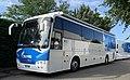 Bus Gazprom-RusVelo à l'hôtel Lyon-Est (Saint-Maurice-de-Beynost) au matin de la 1ere étape du Tour de l'Ain 2021.jpg