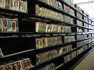 English: A portion of the many compact discs t...