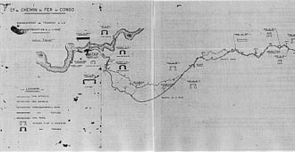Matadi–Kinshasa Railway - The new track as it could be seen on 25 July 1927 (engineer's map).