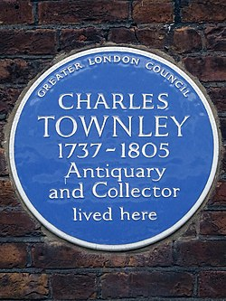 Charles townley 1737 1805 antiquary and collector lived here
