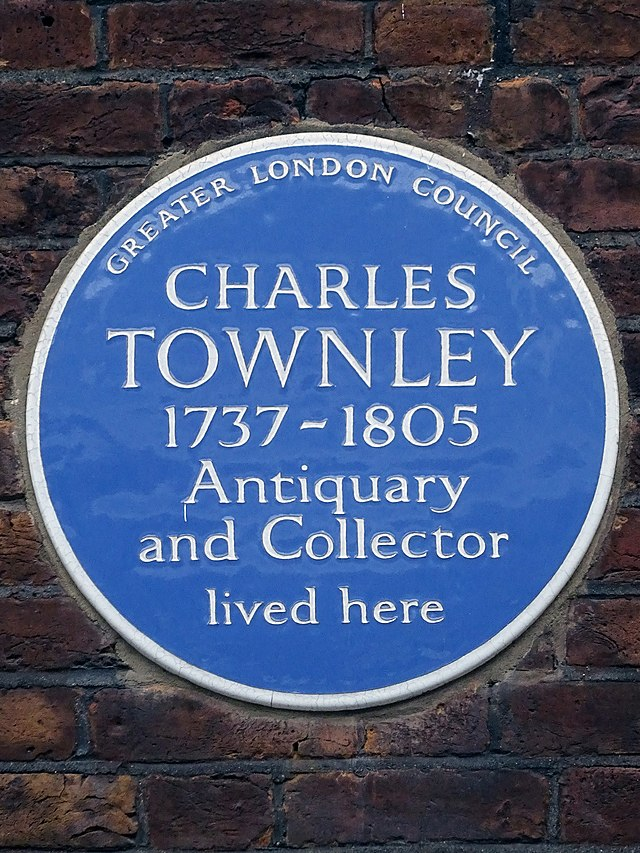 Charles Townley blue plaque - Charles Townley 1737-1805 antiquary and collector lived here