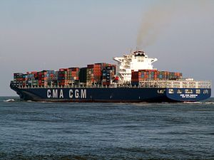CMA CGM Nabucco p4, leaving Port of Rotterdam, Holland 12-Mar-2006.jpg