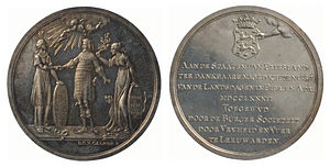 Barend Christiaan van Calker - Friesland's acceptance of the Peace treaty by John Adams, representative of the United States, and the rejection of a separate Peace treaty with England, silver commemorative medal, 1782, collection Teylers Museum