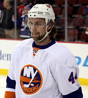 Hockey helmet -  New York Islanders defenseman Calvin de Haan wearing a helmet and visor