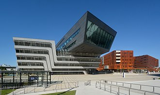 Vienna University of Economics and Business - Library and Learning Center (left, architect: Zaha Hadid), Departement 1 and Teaching Center (right, architect: Laura P. Spinadel)