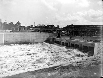 Draining and development of the Everglades - A canal lock in the Everglades Drainage District around 1915