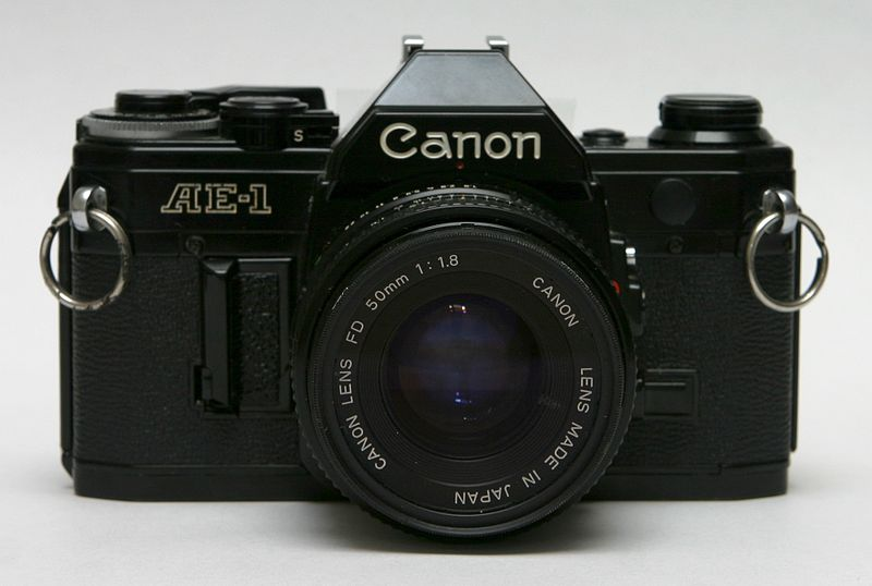 File:Canon AE-1 front with 50mm lens.jpg