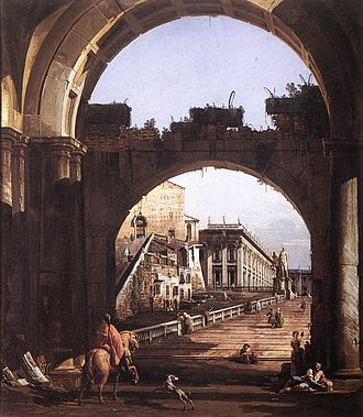 "Bernardo Bellotto - ""Bellotto's urban scenes have the same carefully drawn realism as his uncle's Venetian views but are marked by heavy shadows and are darker and colder in tone and colour."""