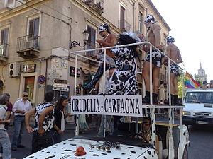 Mara Carfagna - Gay pride protest against Carfagna in Catania, 2008.