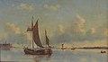 Carl Buntzen - Med udsigt over bugten Charlottenburg Palace og sejlskibe på stille vand på en sommerdag 02.jpg