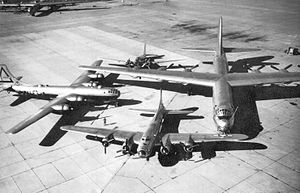 "Carswell Air Force Base - Special photo of Air Force bombers from the 1930s through the late 1940s. A Douglas B-18 ""Bolo""; a Boeing B-17 ""Flying Fortress""; a Boeing ""B-29 Superfortress"" and the B-36 ""Peacemaker"" dominating the group photo with a 230 Ft Wingspan. Taken at Carswell AFB after receipt of the first B-36 in 1948. Note the SAC 7th Bombardment Wing marking on the B-29."