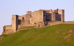 Norman conquest of southern Italy - The stone castle at Melfi was constructed by the Normans where no fortress had previously stood. The present castle includes additions to a simple, rectangular Norman keep.