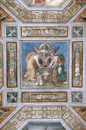 Este Castle of Ferrara, Dawn Room, fresco port...