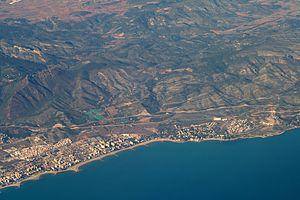 Benicàssim - Benicàssim and Desert de les Palmes mountains from the air, 2011.