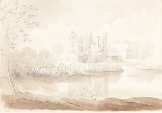 Rheban Castle - 19th century graphite and black chalk sketch, attributed to James Bulwer.