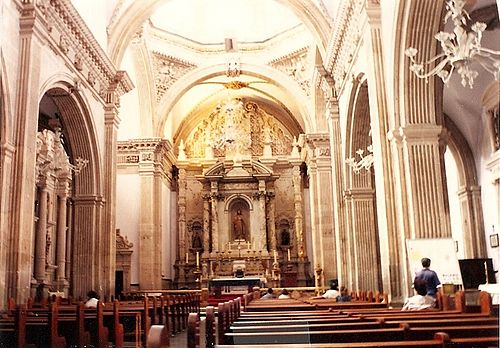 The nave and chancel of the Metropolitan Cathedral of Chihuahua