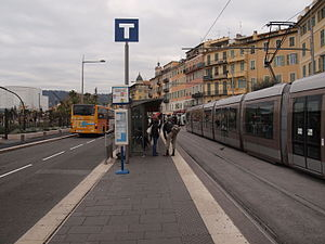 Nice tramway - Tram stop Cathédrale-Vieille Ville in the centre of Nice