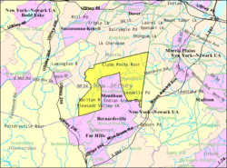 Census Bureau map of Mendham Township, New Jersey