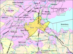 Sayreville, New Jersey - Image: Census Bureau map of Sayreville, New Jersey