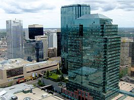An aerial view of Edmonton skyscrapers