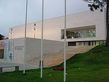 the Cultural and Conference Centre in the twilight